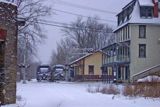The Reinholds Inn and old R&C RR Station with Locomotives - December, 2003