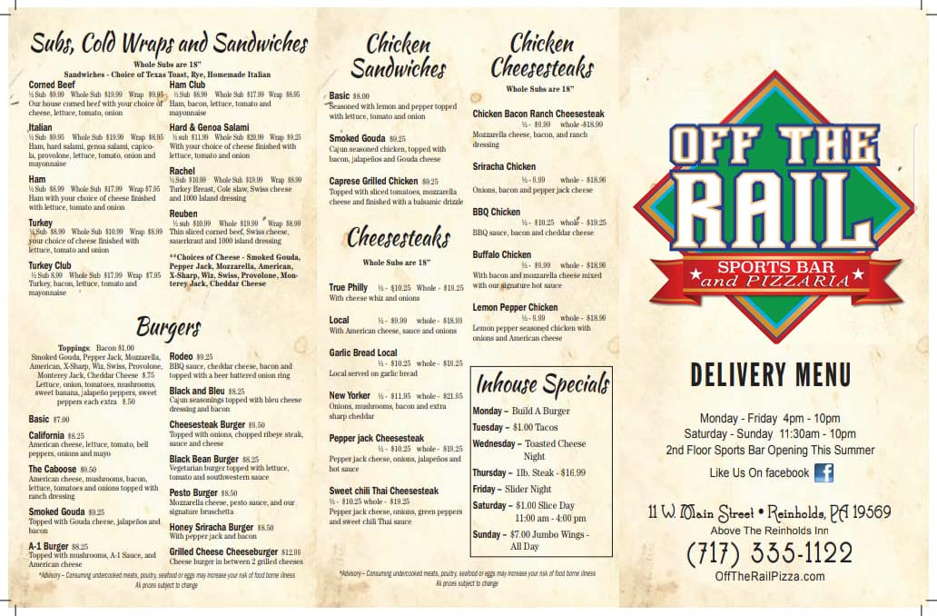 Off the Rail Pizza Menu Page 1