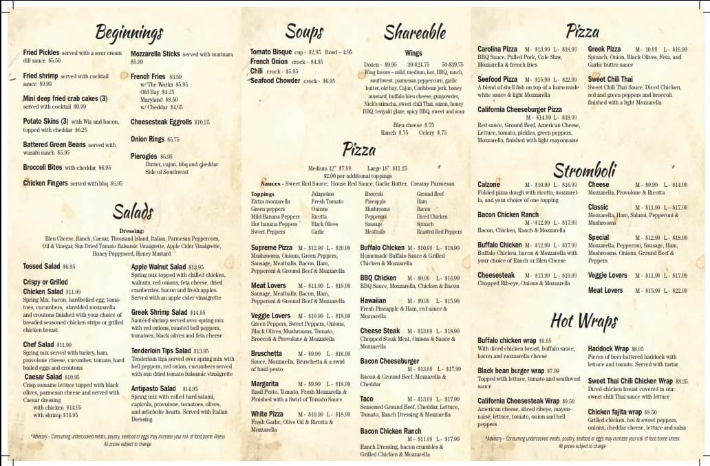 Off the Rail Pizza Menu Page 2